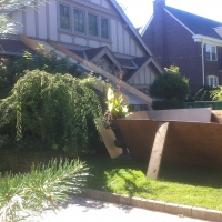 Creating a chute to protect the garden, sidewalk and front of house