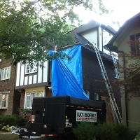 Protecting the front of the house with a chute which goes directly to our bin